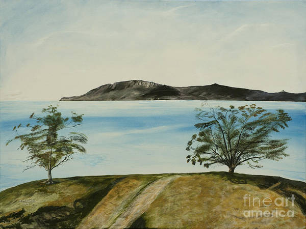 Santa Cruz Island Wall Art - Painting - Ventura's Two Trees With Santa Cruz  by Ian Donley