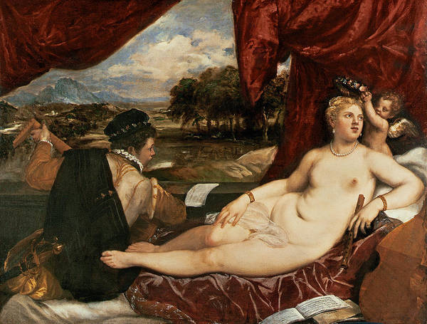 Titian Painting - Venus And Cupid With A Lute Player by Titian