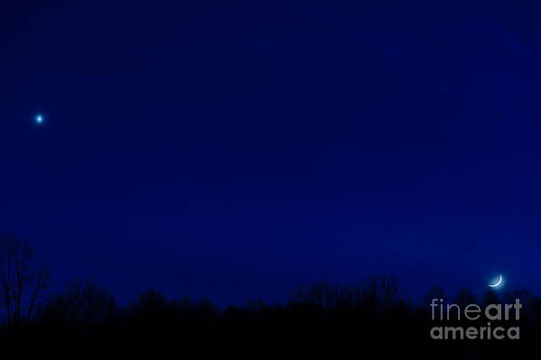 Sliver Photograph - Venus And Moon  by Thomas R Fletcher
