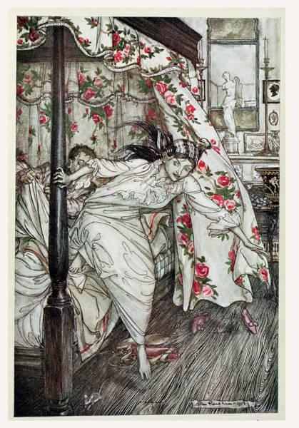 Moral Wall Art - Photograph - Venus And The Cat, Illustration From Aesops Fables, Published By Heinemann, 1912 Colour Litho by Arthur Rackham