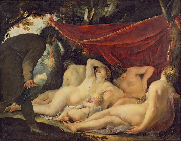 Awakening Painting - Venus And The Graces Surprised By A Mortal by Jacques Blanchard