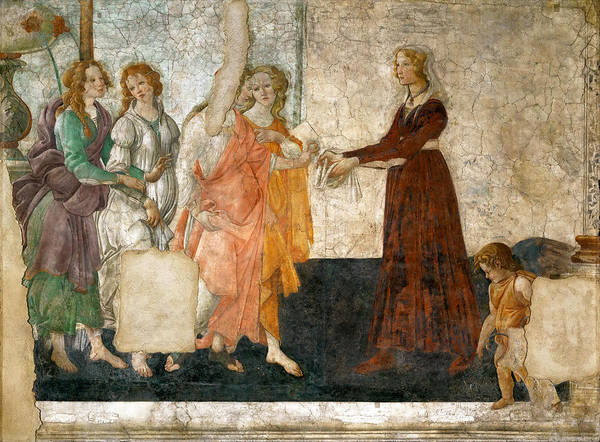 Botticelli Wall Art - Painting - Venus And The Three Graces Offering Presents To A Young Girl by Sandro Botticelli