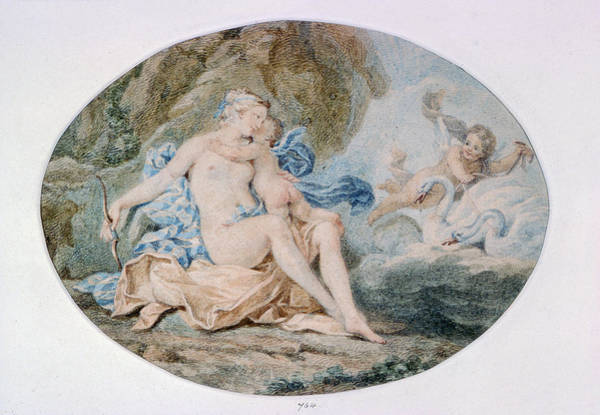 Venus Reclining On A Bank Strewn With Drapery Watercolour Art Print