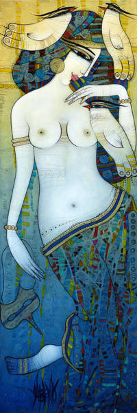 Wall Art - Painting - Venus With Doves by Albena Vatcheva