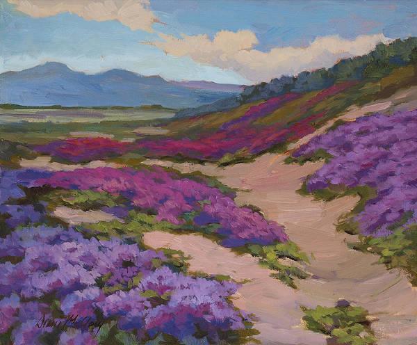 Desert Flowers Wall Art - Painting - Verbena Harmony In Purple by Diane McClary