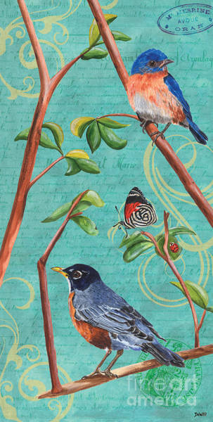 Blue Feather Wall Art - Painting - Verdigris Songbirds 1 by Debbie DeWitt