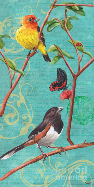 Songbird Painting - Verdigris Songbirds 2 by Debbie DeWitt