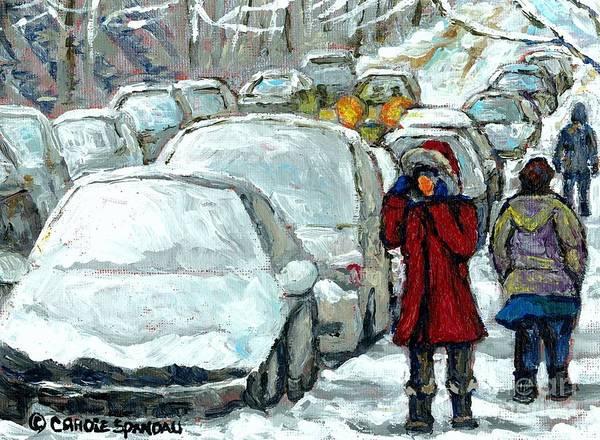 Painting - Verdun Girl In Red Coat Snowed In Cars Winter Street Scene Paintings Montreal Art Carole Spandau by Carole Spandau