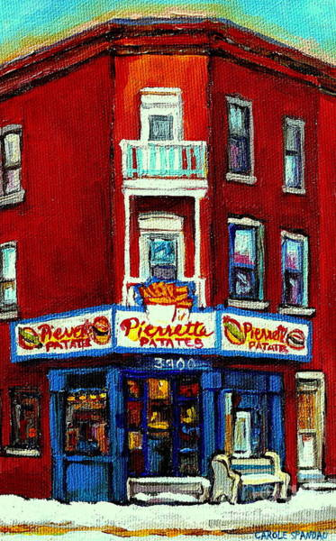 Painting - Verdun Landmarks Pierrette Patates Resto Cafe  Deli Hot Dog Joint- Historic Marquees -montreal Scene by Carole Spandau