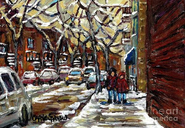 Painting - Verdun Winter Row Houses In January Montreal Paintings Time For A Walk Carole Spandau by Carole Spandau