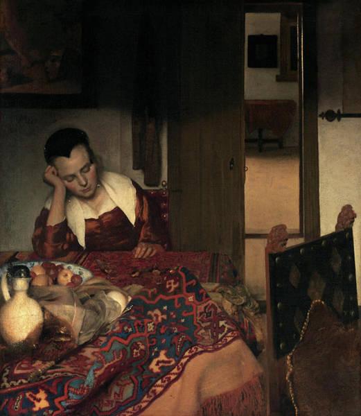 Wall Art - Painting - Vermeer Woman Asleep, C1656 by Granger