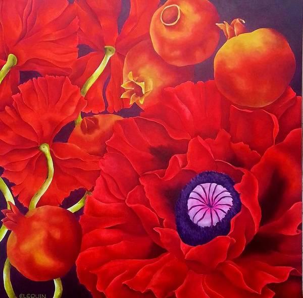 Wall Art - Painting - Vermillion by Elizabeth Elequin