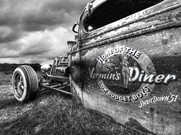 Photograph - Vermin's Diner Rat Rod In Black And White by Gill Billington