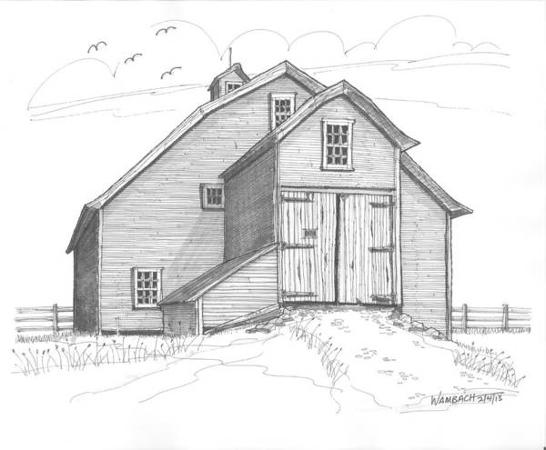Drawing - Vermont Barn by Richard Wambach