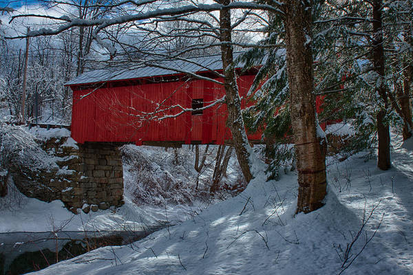 Red Covered Bridge Photograph - Vermont Covered Bridge Winter Afternoon by Jeff Folger
