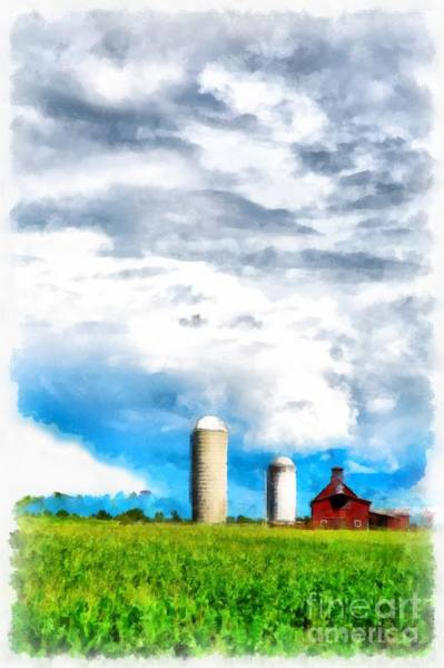 Barn Storm Wall Art - Painting - Vermont Farm Scape by Edward Fielding