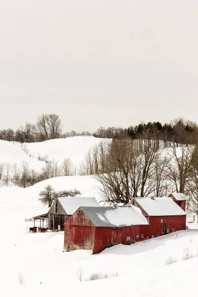 Wall Art - Photograph - Vermont Farm Scene In Winter by Edward Fielding