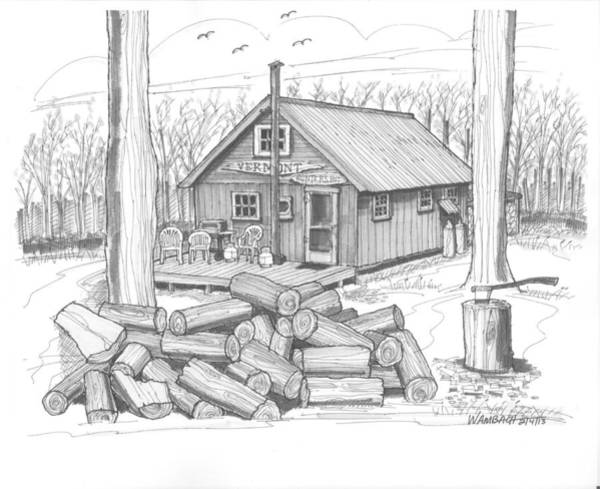 Drawing - Vermont Hunter Lodge by Richard Wambach