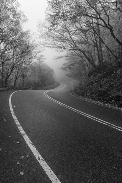 Smugglers Notch Photograph - Vermont Scene Black And White Road Forest Fog by Andy Gimino