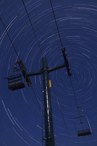 Smugglers Notch Photograph - Vermont Night Sky Skiing Star Trails by Andy Gimino