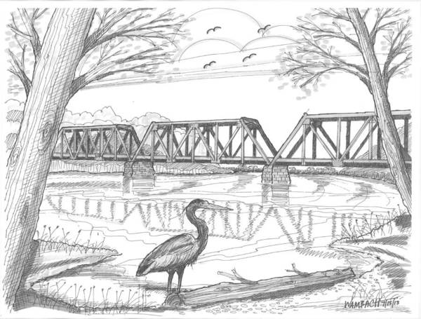 Drawing - Vermont Railroad On Connecticut River by Richard Wambach