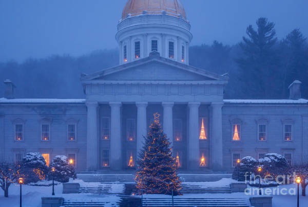 Photograph - Vermont State House Christmas by Susan Cole Kelly
