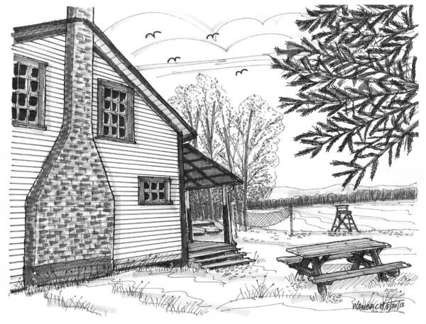 Drawing - Vermont Summer Camp 2 by Richard Wambach