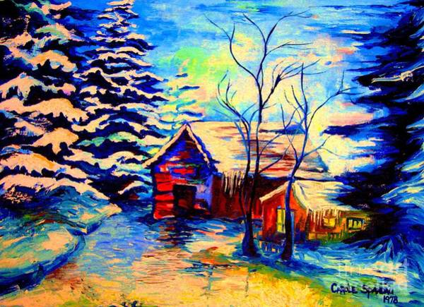 Painting - Vermont Winterscene In Blues By Montreal Streetscene Artist Carole Spandau by Carole Spandau