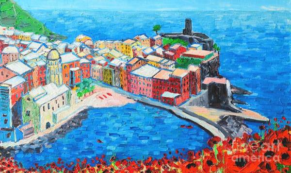 Painting - Vernazza Cinque Terre Italy Painting Detail by Ana Maria Edulescu