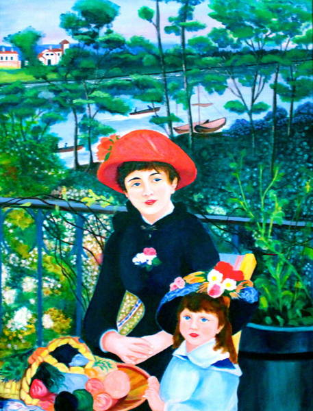 Painting - Version Of Renoir's Two Sisters On The Terrace by Lorna Maza