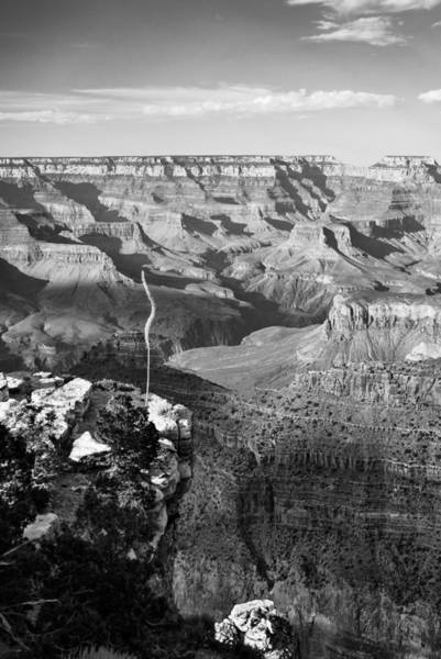 Wonders Of The World Photograph - Vertical Grand Canyon At Sunset - Bw by Gregory Ballos