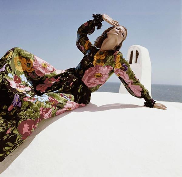 Wall Art - Photograph - Veruschka In Floral Print Dress by Henry Clarke