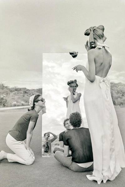 Mirror Photograph - Veruschka On A Photo Shoot by Franco Rubartelli