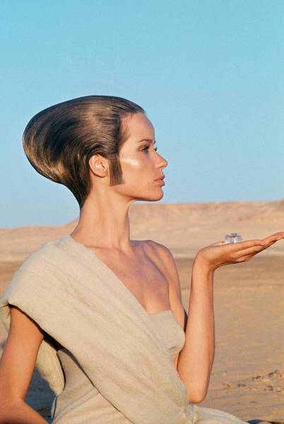 Middle Photograph - Veruschka Von Lehndorff Sitting In A Desert by Franco Rubartelli