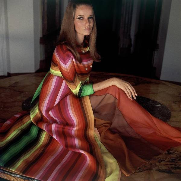 Stripe Photograph - Veruschka Von Lehndorff Wearing A Striped Coat by Henry Clarke