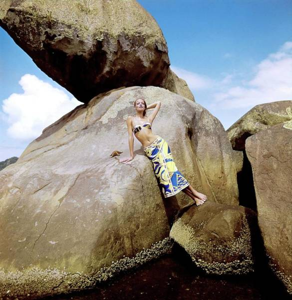 Real People Photograph - Veruschka Wearing A Emilio Pucci Ensemble by Henry Clarke