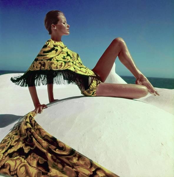 Summer Landscape Photograph - Veruschka Wearing A Ken Scott Ensemble by Henry Clarke