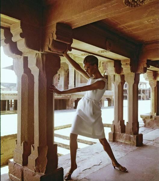 Residence Photograph - Veruschka Wearing A Mollie Parnis Dress by Henry Clarke