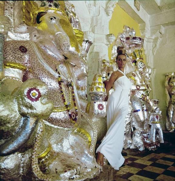 Wall Art - Photograph - Veruschka Wearing A Oleg Cassini Dress by Henry Clarke