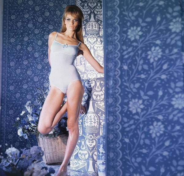 Blue Flower Photograph - Veruschka Wearing Blue Bodysuit By Warner's by Horst P. Horst