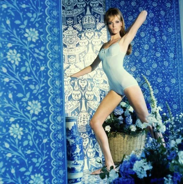 Blue Flower Photograph - Veruschka Wearing Warner Lingerie by Horst P. Horst