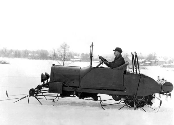 Caucasian Wall Art - Photograph - Very Early Snowmobile by Underwood Archives