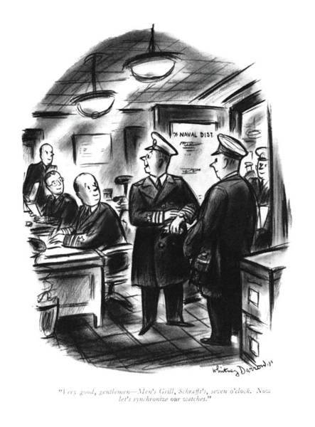 Battle Drawing - Very Good, Gentlemen - Men's Grill, Schrafft's by Whitney Darrow, Jr.