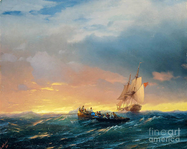 Wall Art - Painting - Vessels In A Swell At Sunset  by Viktor Birkus