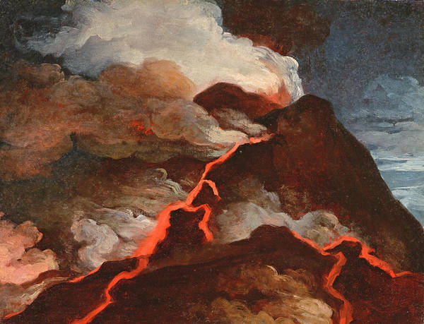 Lava Drawing - Vesuvius In Eruption, 1772 by Anicet-Charles Lemonnier