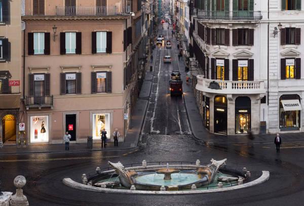 Photograph - Via Condotti Waking Up - Rome Italy by Georgia Mizuleva