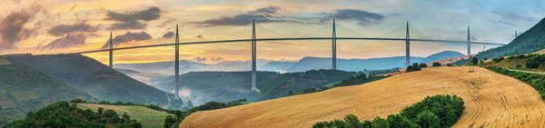 Cable-stayed Bridge Photograph - Viaduc De Millau Bridge Over Tarn River by Jason Langley
