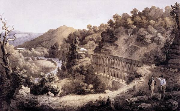 River Drawing - Viaduct On Cheat River, From Album by Edward Beyer