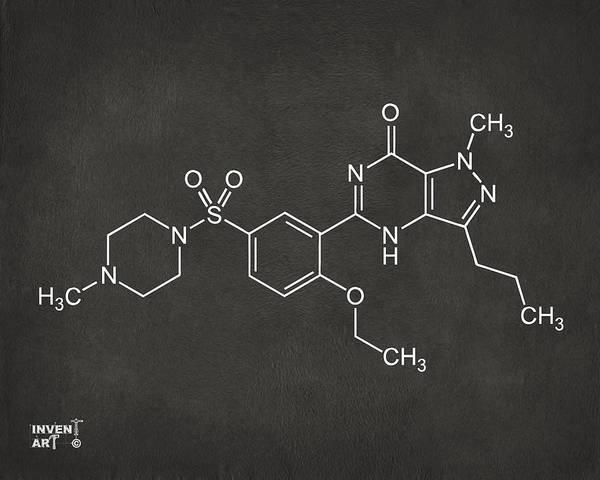 Molecule Wall Art - Digital Art - Viagra Molecular Structure Gray by Nikki Marie Smith