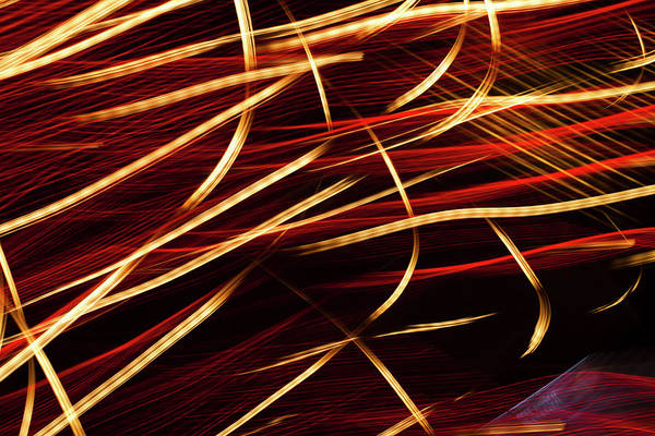 Beam Of Light Photograph - Vibrant Red And Gold Abstract Light by Ralf Hiemisch